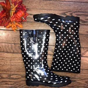 ☔️🖤Brand New Polka Dot Rain Boots Tall Waterproof